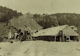 An early photograph showing the Cliff Mine stamp mill and rock pile. Photo courtesy of the Keweenaw County Historical Society.