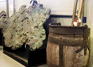 The Museum has objects ranging from local art, artifacts, minerals, and mining items such as float copper and a wooden kibble.